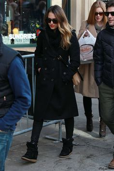 Jessica Alba: Tory Burch trench coat, coated denim, high-top Isabel Marant sneakers, and a two-toned Marni bag.