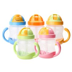 280ml Cute Kids  Baby Cup Children Learn Feeding Drinking Water Straw Handle Bottle School Drinking Bottle