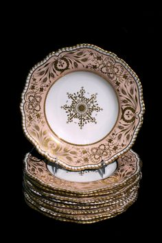 Davenport Set 8 Gilt and Painted Plates  Early 19th Century
