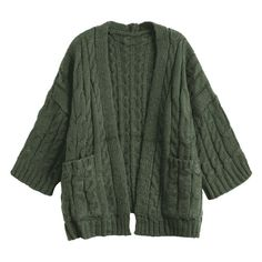 Popular Clothes,Cheap Clothes For Women And Men,Plus Size Women,Men HoodieLatest Front Pocket Cable Knitted Cardigan Army Green In Women Outlet Swaggy Outfits, Cute Casual Outfits, Pretty Outfits, Moda Vintage, Cable Knit Cardigan, Aesthetic Clothes, Vintage Outfits, Fashion Outfits, My Style