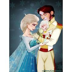 """Royal family of Arendelle by PrincessOfCorona """"Mommy, make more snow."""" Cried Princess Helena as her mother waved her hand in the air and more snow appeared."""" Elsa smiled to her two year old daughter. """"Very much, moomy. Cute Disney, Disney Dream, Disney Magic, Disney Frozen, Disney Art, Disney Movies, Disney Pixar, Disney Characters, Elsa And Hans"""