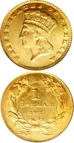1861-D Gold Dollar. In 1861, the year that the Civil War commenced, the Dahlonega Mint struck a limited number of coins of just two denominations, being gold dollars and half eagles. Of these, the gold dollar is the scarcest, and a true key date, both within gold dollars as well as Civil War coinage. The total number struck remains to be unreported, but reasonable estimates show 1,000 to 1,500 pieces being struck in April and May 1861.