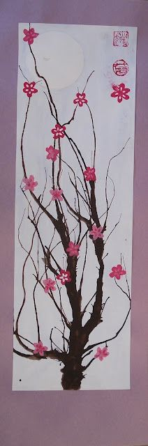 a faithful attempt: Cherry Blossom Paintings - another great web site for kids' art ideas.