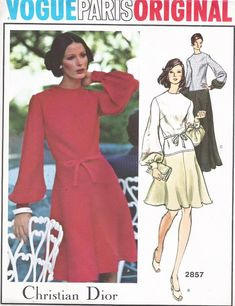 70s DIOR Day Dress or Evening Gown Pattern Vogue Paris Original 2857 Flirty Flippy Skirt, Full Sleeves Sz 10 Vintage Sewing Pattern FACTORY FOLDED
