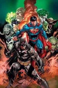 "kalelsonofkrypton: ""Superman, Doomsday, Batman, Green Lantern and Power Girl by Tyler Kirkham. Marvel Dc Comics, Heros Comics, Dc Comics Art, Dc Heroes, Rogue Comics, Comic Book Characters, Comic Book Heroes, Comic Character, Comic Books Art"