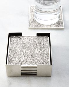 Block Square Coaster Set, Silver - Michael Aram