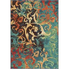 "Orian Watercolor Scroll Area Rug, Multi-Color, 5'3"" x 7'6"""