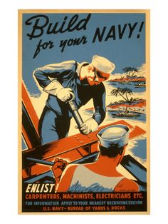 """Love the style of this old Navy poster: """"Build for your Navy!"""" #vintageposters"""