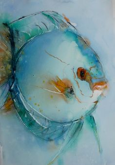 Poisson lune watercolor artists in 2019 акварельная живопись Watercolor Fish, Watercolor Art Paintings, Watercolor Artists, Watercolor Animals, Animal Paintings, Crab Art, Fish Art, Fish Drawings, Art Drawings
