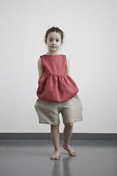 Pucker thick washed natural linen accords a unique, fine hanging look. Light carelessness is felt through the erratic texture of raw flax NOW AVAILABLE AT MUKU SHOP Cool Kids Clothes, Cute Outfits For Kids, Baby Girl Fashion, Kids Fashion, Kids Girls, Baby Kids, Stylish Kids, Kid Styles, Kind Mode