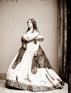 "Laura Keene, starring actress in ""Our American Cousin"" at Ford's Theatre April 14, 1865. She was in the wings ready to go back on stage when friend and fellow actor, J. Wilkes Booth leaped to the stage from the Presidential Box and defiantly shouts at the audience before limping off stage and escaping into the night.  *s*"