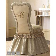 monogrammed vanity chair! VERY PRETTY