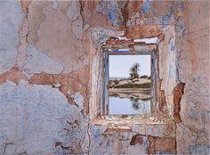 """Autor...  Jesús Lozano Saorin Técnica...  Acuarela de 56x76 cm Título...  """"Reflejos en la ventana"""""""