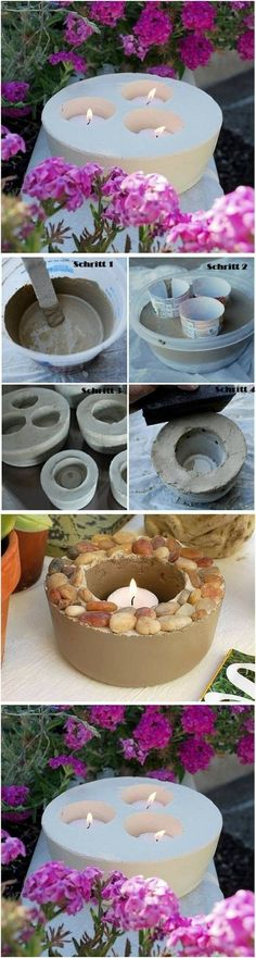 DIY Concrete Candlestick | Buzz + Inspired