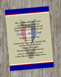 Eagle Scout Invitations-Honorable blue/khaki design