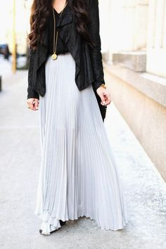 how amazing does this jacket look over a pleated maxi skirt