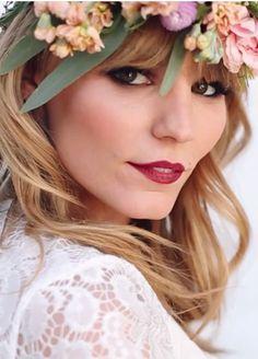 bridal fashion // wine lips, floral crown, bronze smokey eye