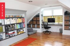 Before and After: An Unfinished Attic Becomes an Airy Office & Play Space