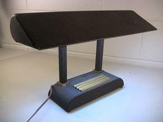 Vintage Desk Lamp Art Deco Desk Lamp Column Lamp Metal Desk Lamp Brass Pen Tray
