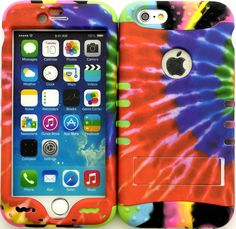 """Amazon.com: Red, Purple and Green """"Bright Colorful Tie-Dye with Non-Slip Grip Texture"""" 3 Piece Layered ULTRA Tuff Custom Armored Hybrid Case for the NEW iPhone 6 Plus 5.5"""" Inch Smartphone by Apple {Made of Soft Silicone Gel and Hard Rubberized Plastic with External Built in Kickstand} """"All Ports Accessible"""": Cell Phones & Accessories"""