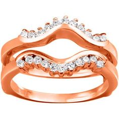 18k Gold 1/4ct TDW Diamond Wave-inspired Classic Ring Guard (G-H, SI2-I1) (18K Rose Gold, Size 5.50), Women's, Size: 5.5 (chevron)