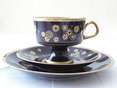 Tea cup Set Real cobalt blue porcelain gilt cup & plates coffee mug saucer cake plate table decoration and timeless gift idea