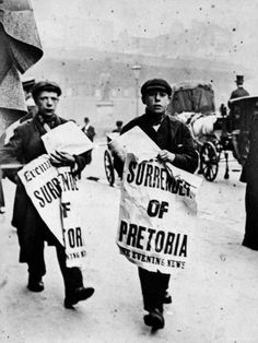 This Day in History: Oct 11, 1899: Boer War begins in South Africa dingeengoete.blogspot.com http://cache2.allpostersimages.com/p/LRG/26/2699/9PRUD00Z/posters/newsboys-hawking-papers-with-stories-of-the-surrender-of-pretoria-and-the-end-of-the-boer-war.jpg