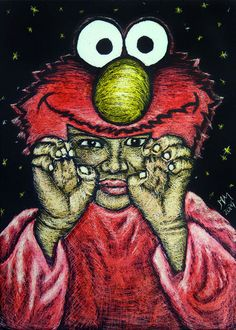 Original ACEO TW OCT Monster Scratchboard Halloween Costume Child Boy Girl Star #Realism by Monique Morin Matson