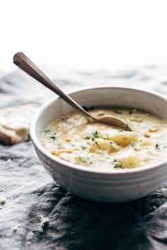 Creamy Potato Soup - so simple and all-homemade, with carrots, celery, potatoes, milk, butter, flour, and bacon. perfect comfort food with no canned cream-of-anything soups.   pinchofyum.com