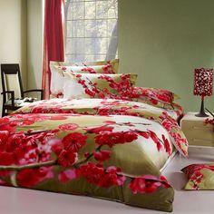 Peach Blossoms Green Bedding Sets Duvet Cover Sets Teen Bedding Dorm Bedding 3D Bedding Floral Bedding Gift Ideas