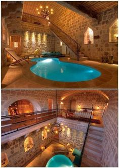 Suite in Argos hotel, Cappadocia. Suite in Argos hotel in Cappadocia. Indoor Swimming Pools, Swimming Pool Designs, Lap Pools, Backyard Pools, Pool Decks, Pool Landscaping, Dream Home Design, My Dream Home, Luxury Homes Dream Houses
