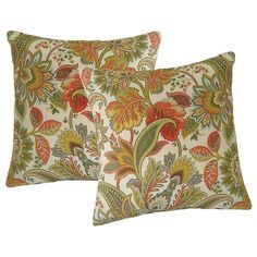 Metje Valbella Floral Indoor Outdoor 2-piece Reversible Throw Pillow Set, Multicolor