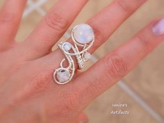 Moonstone wire wrapped ring by IanirasArtifacts on deviantART