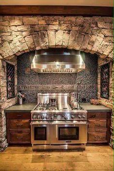 primitive kitchens,rustic kitchen decor,log home kitchens,log cabin kitchens,primitive log home cooking pits 00349 Deco Design, Küchen Design, Design Ideas, Loft Design, Design Moderne, Rustic Kitchen Design, Kitchen Decor, Country Kitchen, Country Homes