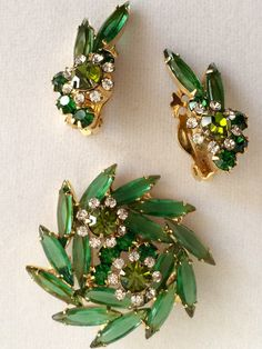 Vintage Verified DeLizza and Elaster Juliana Emerald Green Brooch & Earring Set Book Piece by GiosGems1 on Etsy