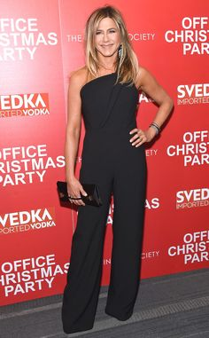 TheOffice Christmas Party actress keeps it classic in a black jumpsuit while at her New York movie screening.
