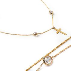 14k solid gold swarovski crystal cross necklace. Religious necklace. Small cross…