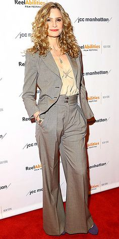 Last Night's Look: Love It or Leave It? | KYRA SEDGWICK | in a wide-leg pant suit and beige top at the premiere of The Road Within in N.Y.C.