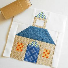 Patchsmith Schoolhouse Block Pattern I am working on the Patchsmith Sampler quilt and created the sweetest little Schoolhouse Block. House Quilt Patterns, House Quilt Block, Mug Rug Patterns, Quilt Block Patterns, Pattern Blocks, Quilt Blocks, Patch Quilt, Applique Quilts, Farm Quilt