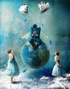 ♨ Intriguing Images ♨ unusual surreal art photographs, paintings illustrations - Kinga Britschgi - The Unbearable Lightness of Reluctance Fantasy Kunst, Fantasy Art, Vladimir Kush, Rene Magritte, Painting Gallery, Butterfly Art, Butterfly Colors, Butterflies, Surreal Art