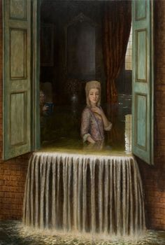 The enigmatic, dreamlike paintings of Mike Worrall are often inspired by historical themes. Informed by his work in film, Worrall deals with the sublime in his hyperreal depictions of the mysterious. As in a dream, the quiet façade and the beauty of the large scale oil paintings masks the intri