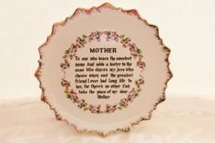 Vintage Mother Plate Poem china Mother's Day by losttreasures2u, $8.99