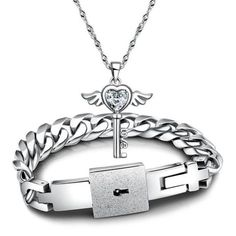 2014 New Fashion Couples Jewelry sets Silver His and Hers White Cubic Zirconia Key Pendant Necklace And Titanium Steel Lock Link Chain Bracelet Bangle,Valentines Gift BY EZMAX = 1929818884