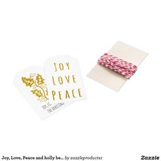 Joy, Love, Peace and holly berry in gold glitter Gift Tags
