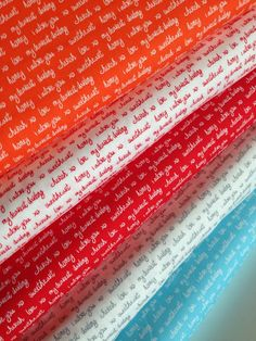 Text fabric, Sealed With a Kiss fabric bundle by Robert Kaufman and Fabric Shoppe - Bundle of 5 Fabrics, You Choose the Cuts