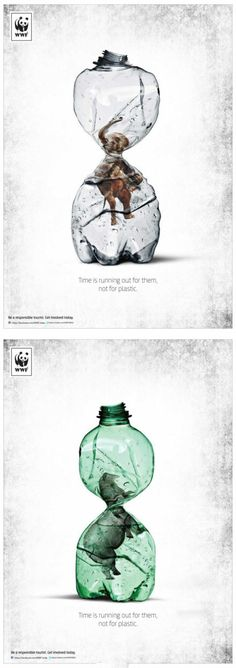 WWF:: Time is running out for them, not for plastic. Brand Advertising, Creative Advertising, Environmental Posters, Environmental Protection Poster, Environmental Degradation, Wwf Poster, Plakat Design, Great Ads, Inspiration Design