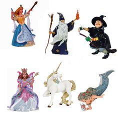 Fairy Tale Figures - Six detailed figures, tallest includes 3.75 inches. Set includes:    Mermaid  Fairy  Witch  Unicorn-A  Wizard/Magician  Rose The Fairy Queen