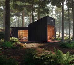 Pine Forest House ♥ Render by Are you looking for a support for your interior and and architectural visuals ? Forest Cabin, Forest House, Pine Forest, Tiny House Cabin, Tiny House Design, Modern Tiny House, Modern Wood House, Casas Containers, Cabin In The Woods