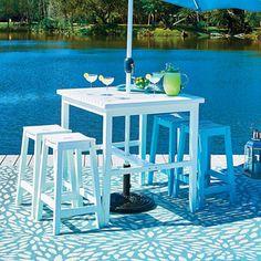 Cabana Wood Bar Height Patio Table & Bar Stools