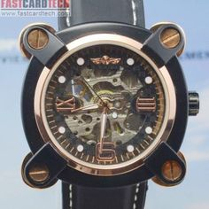 New Style Automatic Watch J277 Stainless Steel – Male Stainless Steel Skeleton Auto Mechanical Watches Leather Band Wristwatch.